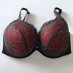 Cacique red & black lace bra 38DDD